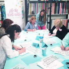SO much fun teaching in the most beautiful space @trailerstashfabrics tonight in Bermuda Run!! We have 12 new calligraphers running around Winston-Salem after tonight!! I CANT WAIT to come back here and visit these heavenly teal tables and Gina again!! #calligraphyYall #allshewrotenotes by allshewrotenotes