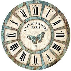 Awesome clock face - This coul be made into a larger clock with creative photo-shopping! Lots of great clock faces here - DECOPAULA Clock Art, Diy Clock, Clock Decor, Clock Ideas, Wall Decor, Rustic Wall Clocks, Wood Clocks, Decoupage Paper, Decoupage Vintage