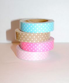 Polka Dot Fabric Tape Set of 4 Removable by EtsySupplyCenter, $7.99 #tape #crafts #crafting #polkadots #cute #etsy #fabric