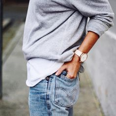 Simple yet so clean | grey sweater denim watch white tee streetstyle fashion style health nutrition training fit active mens womens inspiration fitness womenswear menswear bayse luxe activewear