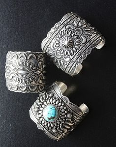 Darryl Becenti Magnificent Sterling/Turquoise Cuff Bracelets! 3 options http://www.cowgirlkim.com/darryl-becenti-magnificent-sterling-turquoise-cuff-bracelets-3-options.html