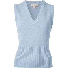 Michael Kors sleeveless knit top (46.895 RUB) ❤ liked on Polyvore featuring tops, blue, sleeveless tops, blue top, michael kors, blue sleeveless top and knit top