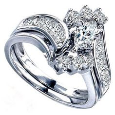 14k white bridal sets with 066 carats marquise diamond two hearts 14k white gold bypass - Marquis Wedding Ring