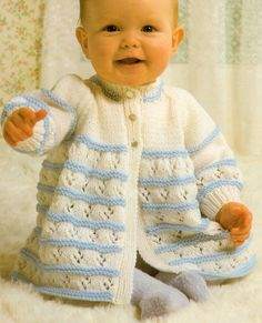 """PRETTY Baby Vintage 2 Colour Matinee Coat 16"""" - 20"""" DK Knitting Pattern - £1.99. Welcome to Pattern Bazaar About Us Payment Shipping Returns Feedback Contact Us Pretty Baby Vintage 2 Colour Matinee Coat 16"""" - 20"""" DK Knitting Pattern Product Description Baby Layette Matinee Set Jacket/Cardigan Blanket Hat Bootees & Mittens. Knitting Pattern Copy 16"""" - 20"""" You will need: 3.25mm & 3.75mm needles. Buttons DK Wool This auction is for a copy of the origi..."""