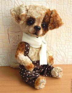 Мишки Тедди ручной работы. Ярмарка Мастеров - ручная работа. Купить Дружок. Handmade. Бежевый, собака игрушка, плюш винтажный