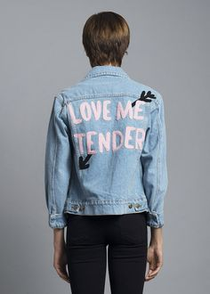 "Love me tender. Love me sweet. Rock this cute denim jacket with our Boo You Whore Sunglasses! 100% Cotton 43cm/17"" Chest, 57cm/22.4"" Length (Size Small) Color m"