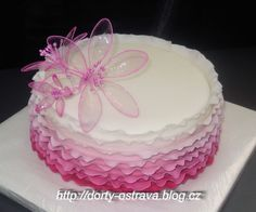 Hand made gelatin flowers on a dainty  pink frilly cake ~ all edible