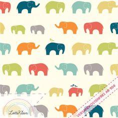 "*Bio Jersey Interlock Elefant - Birch Fabrics USA  Ellie Fam Multi 100% Baumwolle Stoff Elefant* *+Kollektion ""Just For Fun""+*  *Wunderschöner ""organic cotton"" Baumwolljerseystoff/Interlock, der..."