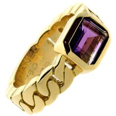 Chanel Amethyst Yellow Gold Ring | From a unique collection of vintage cocktail rings at https://www.1stdibs.com/jewelry/rings/cocktail-rings/