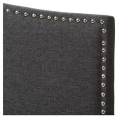 Gracie Modern and Contemporary Fabric Upholstered Headboard with Nail Heads Trim - Twin - Dark Grey - Baxton Studio, Gray