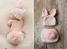 2014 New Free Shipping Handmade Newborn Lovely Pink Rabbit baby Photography Props Crochet Cotton Knit Beanie Set Suits C709008