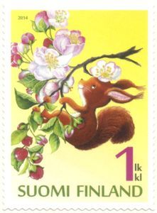 A squirrel in a apple tree Postage Stamp Art, Love Stamps, Vintage Stamps, Mail Art, Stamp Collecting, My Stamp, Squirrel, Book Art, Apple Tree