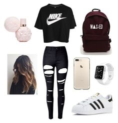 """School 😋"" by ximenaordonez9 on Polyvore featuring WithChic, NIKE, adidas and Apple"
