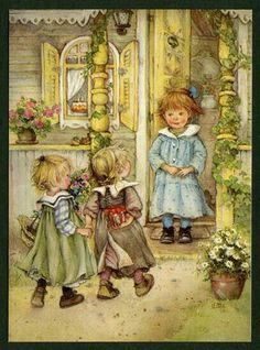 Lisi Martin - bringing a gift Holly Hobbie, Christmas Illustration, Children's Book Illustration, Christmas Pictures, Christmas Art, Vintage Cards, Vintage Images, Dibujos Cute, Spanish Artists