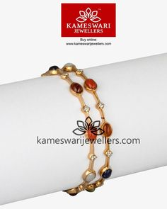 Buy Bangles Online Navratna Closed Setting Bangles from Kameswari Jewellers ship across and CallWhatsapp us on 917799217999 Gold Bangles Design, Gold Jewellery Design, Designer Bangles, Gold Jewelry Simple, Silver Jewelry, Pearl Jewelry, Crystal Jewelry, Schmuck Design, Jewelry Patterns