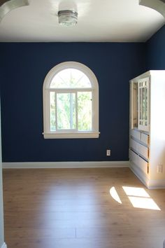 LOYAL BLUE, by Sherwin Williams love this wall color with the white  http://www.stylebyemilyhenderson.com/blog/my-new-office.html