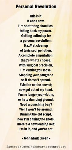 """""""Personal Revolution"""" - powerful and motivating poetry by John Mark Green - #motivation #freedom #positivechange  overcoming toxic relationships - starting over - finding freedom"""