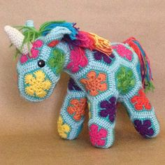 Custom Handmade African Flower Crochet Unicorn by Lineandloops on Etsy https://www.etsy.com/listing/175892221/custom-handmade-african-flower-crochet