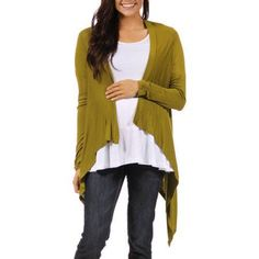 24/7 Comfort Apparel Women's Long Sleeve Maternity High-Low Shrug, Size: Large, Green
