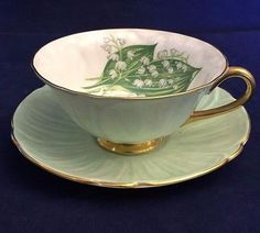 Fabulous Vintage Shelley Mint Green Oleander Lily of the Valley Cup and Saucer
