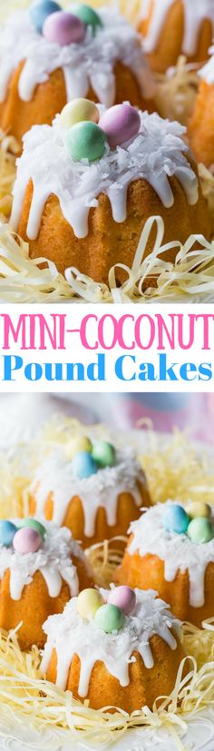Mini Coconut Pound Cakes all dressed up for Easter fun! Baked in a mini bundt pan, topped with a simple coconut flavored icing and garnished with shredded coconut and pastel colored candy eggs. www.savingdessert.com