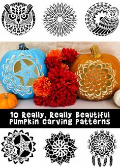 10 Really Beautiful Pumpkin carving Patterns adapted from adult coloring books!
