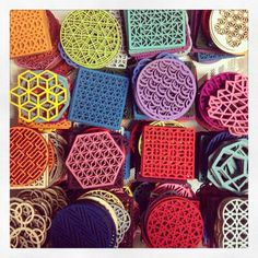 Innovative use of felt with these laser cut 100% merino wool coasters and trivets by Molly M Designs