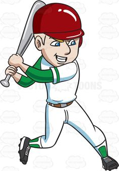 A baseball player about to aggressively hit a ball #cartoon #clipart #vector…