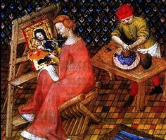 KUNSTENAAR en AMBACHTSMAN /Een vrouwelijke schilder maakt een portret van de Maagd en het Kind terwijl een (mannelijke) assistent haar verf mengt. Italie 1402 .