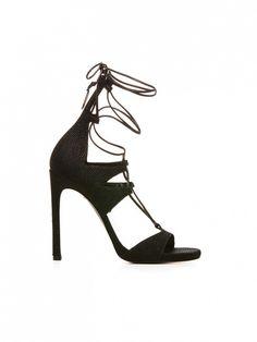 Stuart Weitzman The Legwrap Sandals in Black Goose Bump Nappa