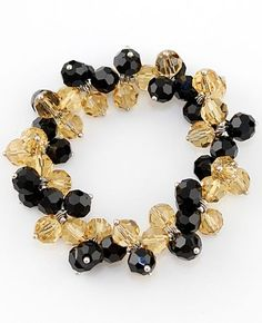 Yellow Black Gemstone Link Bracelet #SheInside