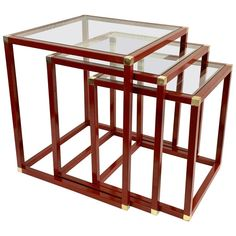 Tommaso Barbi Brass Red Enameled Metal And Glass Italian Nesting Tables, Large Table, Small Tables, Table Dimensions, Nesting Tables, Antique Glass, Table Furniture, Hollywood Regency, Brass, Flooring