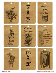 Free Vintage Alice in Wonderland Printable Tags
