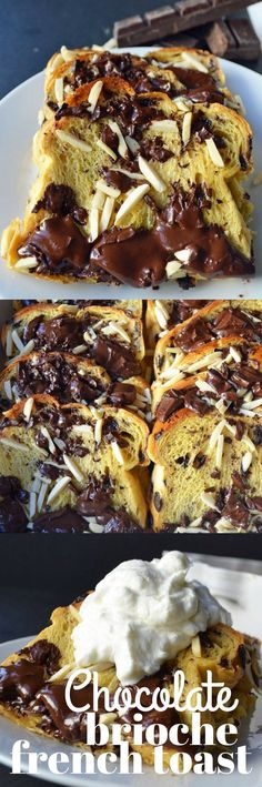 Chocolate Almond Brioche Baked French Toast 1 Brioche Loaf sliced 3 Egg Yolks 1 cup Whole Milk cup Brown Sugar cup Chocolate Chunk Texas Toast, Brioche French Toast, French Toast Bake, Brunch Recipes, Breakfast Recipes, Dessert Recipes, Breakfast Club, Drink Recipes, Kinds Of Desserts