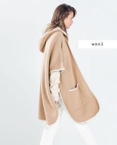 HOODED CAPE WITH PIPING - ZARA