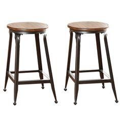 @Overstock.com - Counter Height Stool (Set of 2) - Sit comfortably in these counter stools featuring a classic design with a sturdy metal base.  The stool seat is crafted from solid birch wood and is finished in a warm chestnut, making it a beautiful addition to any kitchen.  http://www.overstock.com/Home-Garden/Counter-Height-Stool-Set-of-2/8500600/product.html?CID=214117 $137.69