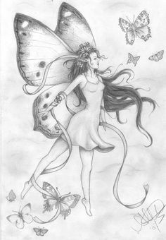 Fairy+Drawings flying fairy by on deviantart fairy coloring page Fairy Wings Drawing, Fairy Drawings, Angel Drawing, Butterfly Drawing, Fantasy Drawings, Art Drawings Sketches, Fantasy Art, Pencil Art Drawings, Elves Fantasy