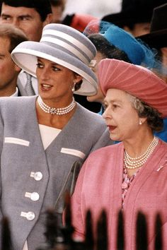 October 8, 1993: HRH Diana, Princess of Wales with Queen Elizabeth at the wedding of Princess Margaret's son, Viscount Linley to Miss Serena Stanhope at St. Margaret's Church in London.