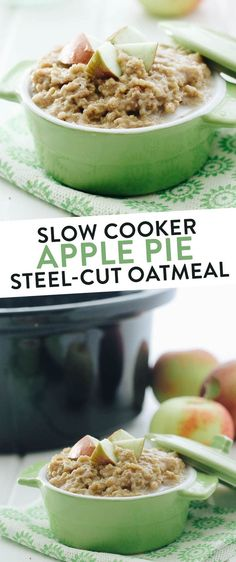Hottest Absolutely Free This Slow Cooker Apple Pie Steel-Cut Oatmeal makes the perfect, hands-off health. Style This Slow Cooker Apple Pie Steel-Cut Oatmeal makes the perfect, hands-off healthy breakfast for Fal Slow Cooker Oats, Slow Cooker Breakfast, Slow Cooker Apples, Healthy Meals To Cook, Healthy Slow Cooker, Healthy Breakfast Recipes, Healthy Food, Healthy Eating, Diabetic Slow Cooker Recipes