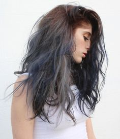 Agate Crystal – Warm Browns paired with Silver, Grey, Navy an Bl… – Danielle Soucy – Hair Red Blue Grey Hair, Red Brown Hair, Brunette Long Layers, Blonde Hair With Highlights, Blue Highlights, Multicolored Hair, Alternative Hair, Hair Color And Cut, Pastel Hair
