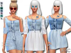 The Sims Resource: Denim Jeans Dress by Pinkzombiecupcake • Sims 4 Downloads