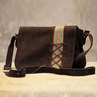 Leather messenger bag, 'Andean Earth' - Unique Leather Messenger Bag Accented with Wool from Peru