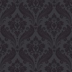 Vintage Flock Black Wallpaper by Graham and Brown