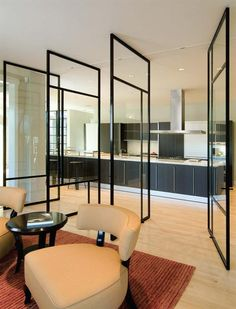 Rotating dividing glass walls to create privacy