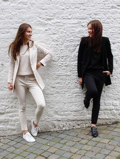 Fashion, mode, white wall, suits, Vanilia, girls, brown hair, fashionblog, fashionbloggers, modeblog, modebloggers, sneakers, puma, basket LFS,