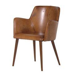 Aldo Tan Vintage Leather Chair