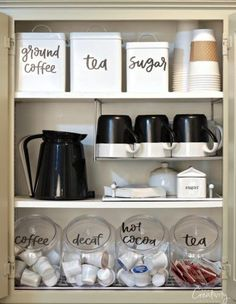 Organized Coffee Cabinet with Printable Labels