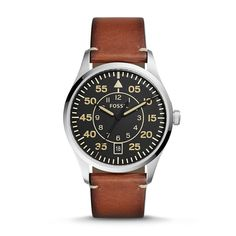 Vintage 54 Aviator Three-Hand Date Luggage Leather Watch