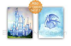 Dragon Art Print, Castle Wall Art, Blue, SET 2, Baby boy nursery, Prince Nursery, Castle art print, Dinosaur art print, Dragon nursery decor