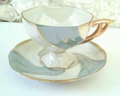 Vintage Tea Cup Saucer Blue Mother of Pearl Lusterware Gold Trim Footed   eBay